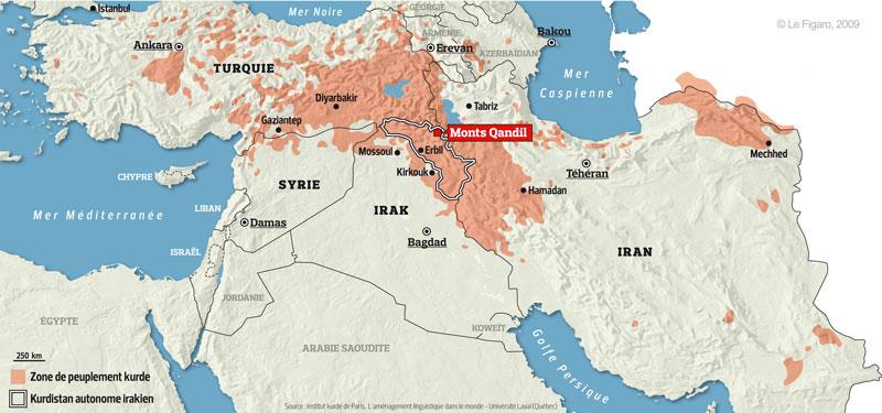 Fuente: El estrecho camino de los kurdos entre Iraq y Turquía, Laure MARCHAND, Publicado en Le Figaro el 8 de Octubre de 2009.