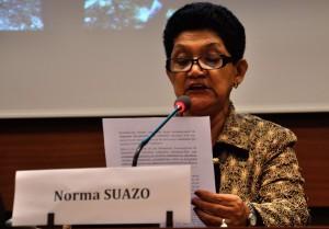 Norma Suazo, del Comité de Familias de migrantes desaparecidos, durante su intervención en evento en la sede de Naciones Unidas en Ginebra.