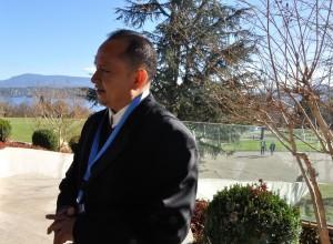 Héctor García Berríos, representante del Movimiento Unificado Francisco Sánchez –MUFRAS-32–, durante su reciente visita a la sede de la ONU en Ginebra