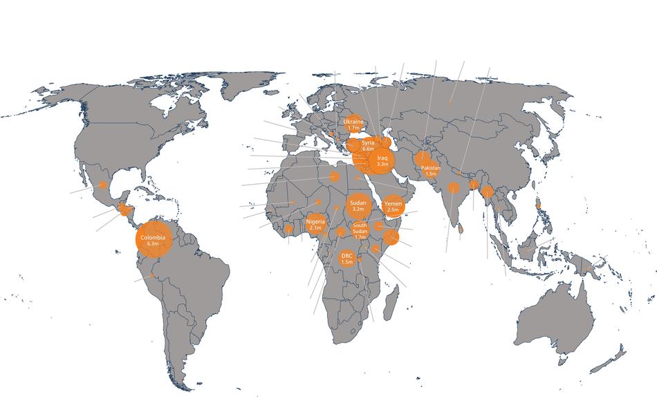 Infografía: Centro de Monitoreo del Desplazamiento Interno (IDMC).