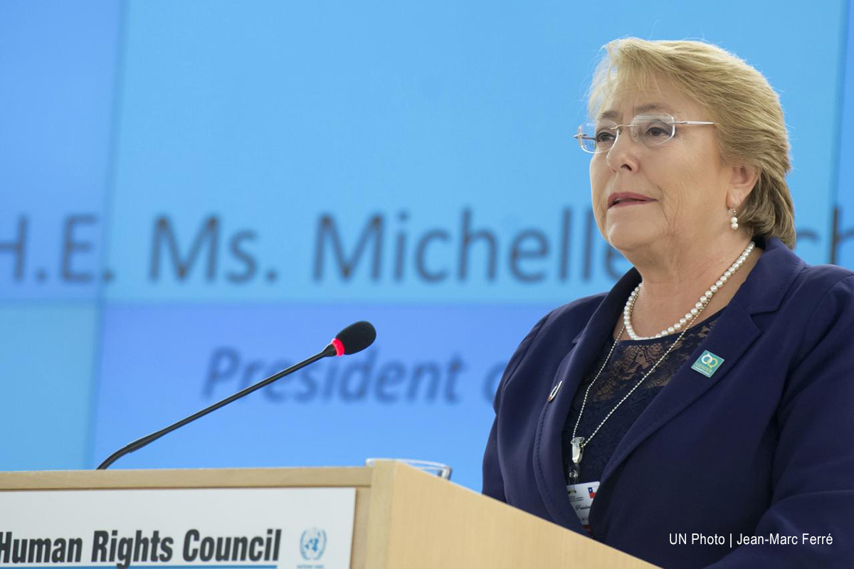Michelle Bachelet, presidenta de Chile, se dirige al Consejo de Derechos Humanos.