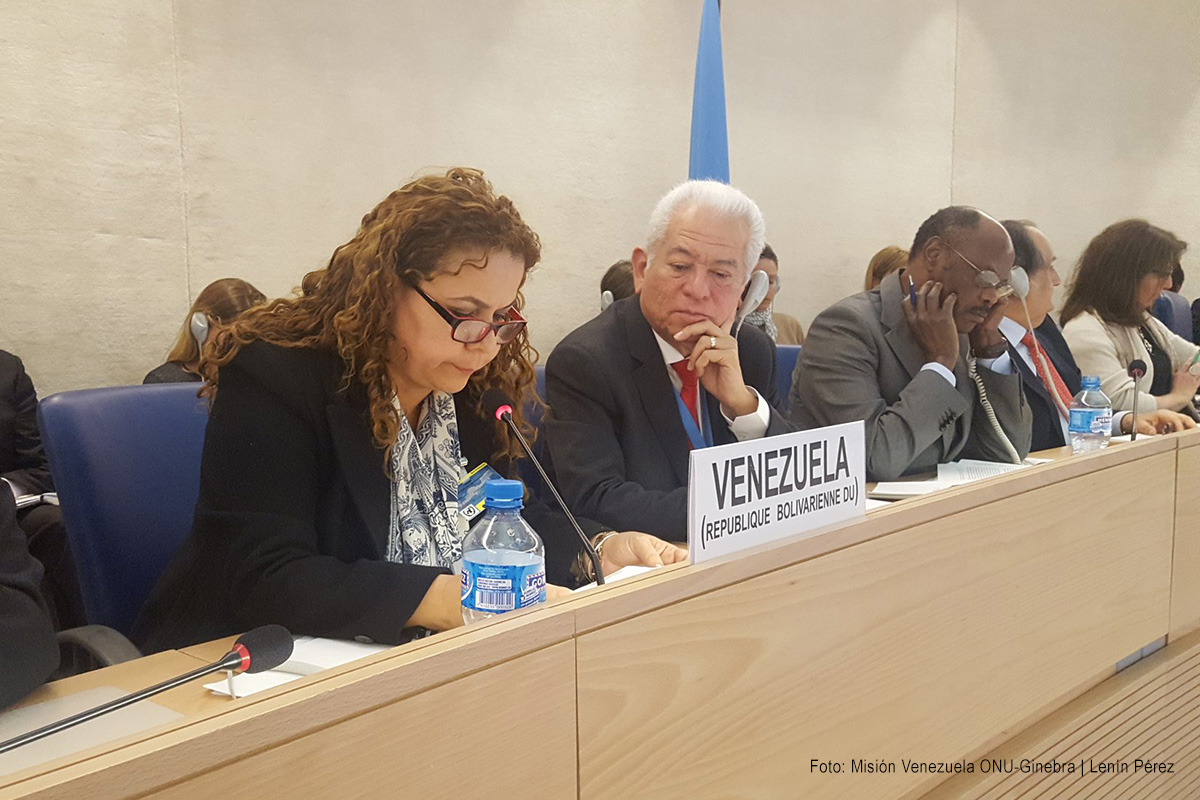 Delegación de Venezuela en la adopción del EPU. Foto: Lenín Pérez